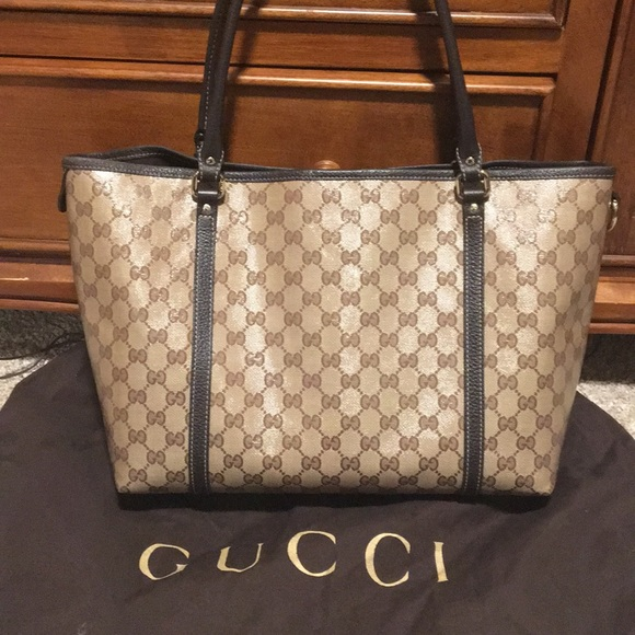 71987321c643e Authentic Gucci Joy Crystal Coated Canvas Tote